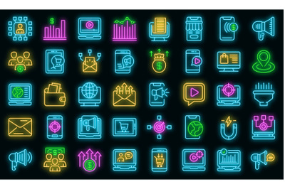 Online marketing icons set vector neon