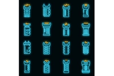 Taser icons set vector neon