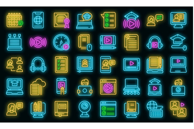 Online training icons set vector neon