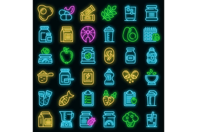 Sports nutrition icons set vector neon