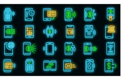 Mobile payment icons set vector neon