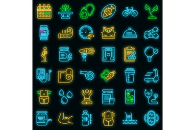 Healthy lifestyle icons set vector neon