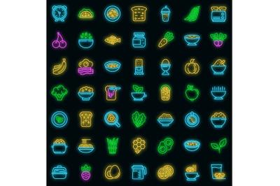 Healthy breakfast icons set vector neon