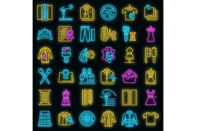 Clothing repair icons set vector neon