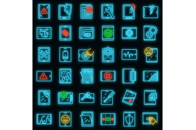 Tablet repair icons set vector neon
