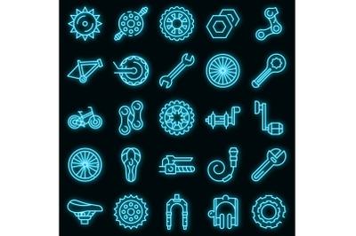 Bicycle repair icons set vector neon