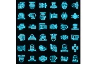 Pump icons set vector neon