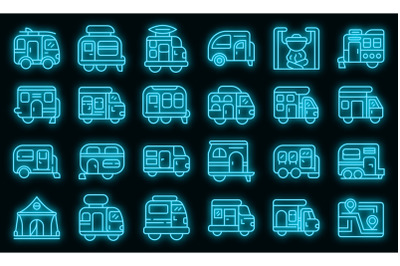 Auto camping icons set vector neon