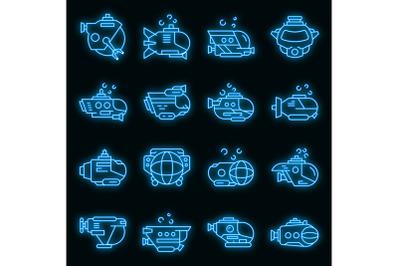 Bathyscaphe icons set vector neon