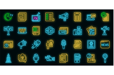 Reportage icons set vector neon