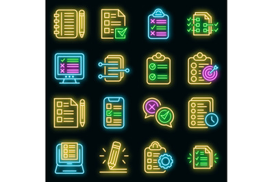 Assignment icons set vector neon