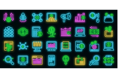 Monetization icons set vector neon