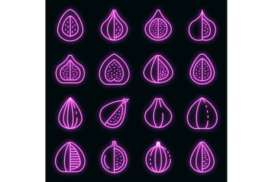 Figs icons set vector neon