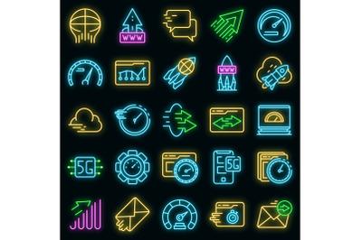 Internet speed icons set vector neon