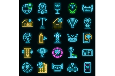 Wifi zone icons set vector neon