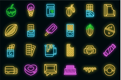 Chocolate icons set vector neon