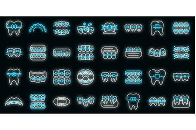 Tooth braces icons set vector neon