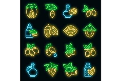 Jojoba icons set vector neon