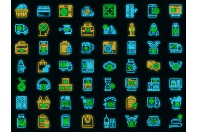 Drug delivery icons set vector neon