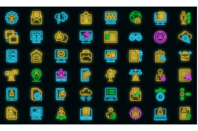 Online job search icons set vector neon