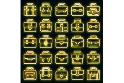 Briefcase icons set vector neon