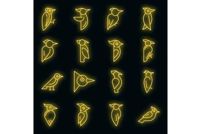 Woodpecker icons set vector neon