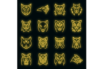 Wolf icons set vector neon