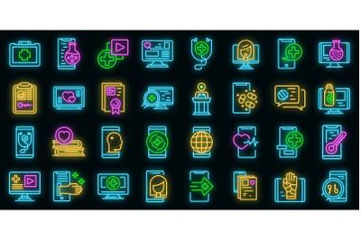 Telemedicine icons set vector neon