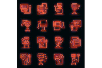 Ventilator Medical Machine icons set vector neon