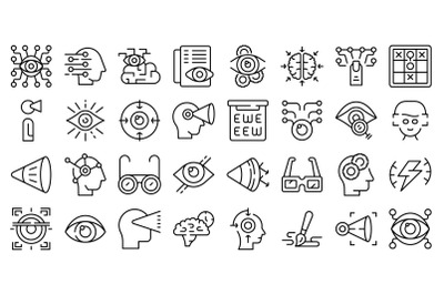 Visual perception icons set outline vector. Future trendy