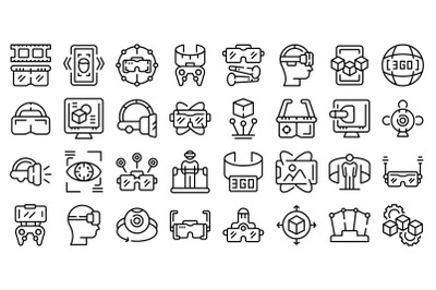Vr platform icons set outline vector. Augmented reality