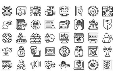 Stop theft icons set outline vector. Anti terrorist