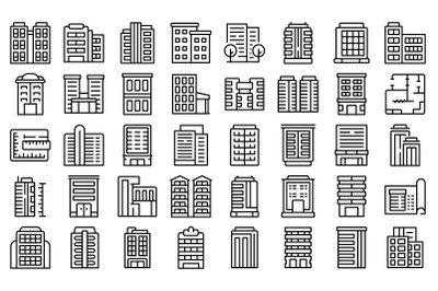 Multistory building icons set outline vector. Architecture interior