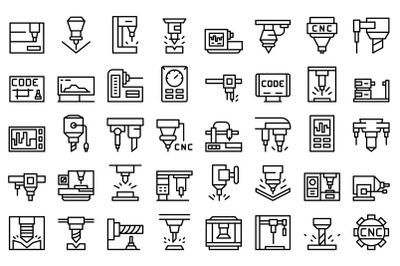 Cnc machine icons set outline vector. Mill controller