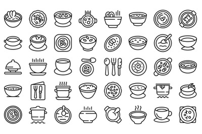 Cream soup icons set outline vector. Meal soup