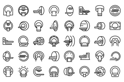 Magnetic resonance tomography icons set outline vector. Medical ct scan
