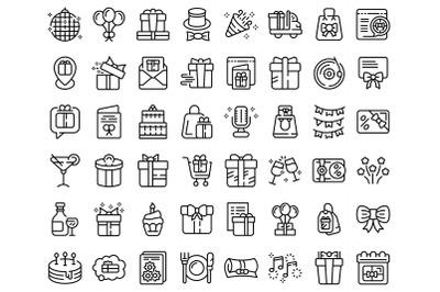 Birthday gift icons set outline vector. Box present