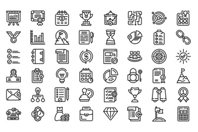 Successful business icons set outline vector. Team solution
