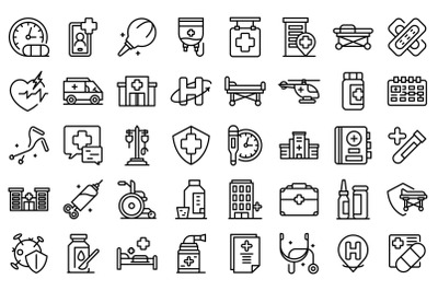 Hospitalization icons set outline vector. Medical health