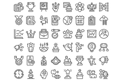 Motivational speaker icons set outline vector. Human discussion
