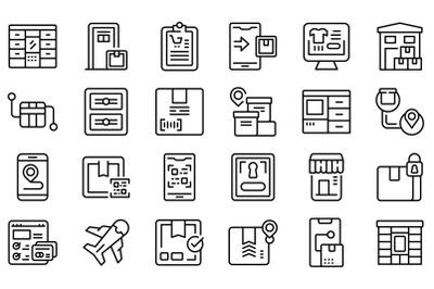 Self-service parcel delivery icons set outline vector. Automat locker