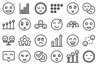 Satisfaction level icons set outline vector. Customer smile