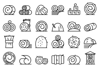 Bale of hay icons set outline vector. Agriculture hay bale