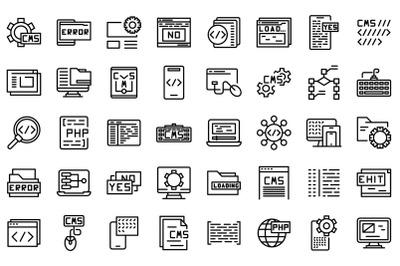 Cms development icons set outline vector. Data code