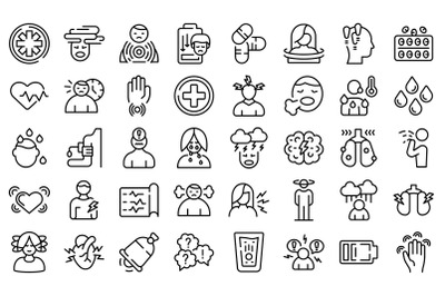 Panic attack icons set outline vector. Panic anxiety