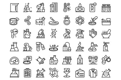 Laboratory research icons set outline vector. Dna science
