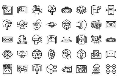 Virtual tour icons set outline vector. Video arrow