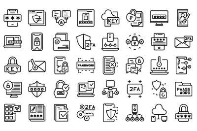 Two factor authentication icons set outline vector. Code certificate