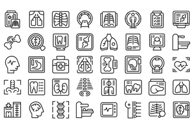 X-ray examination icons set outline vector. Hospital room