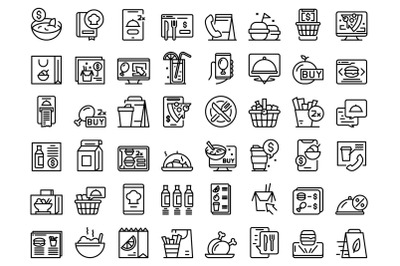 Online food ordering icons set outline vector. Delivery drink